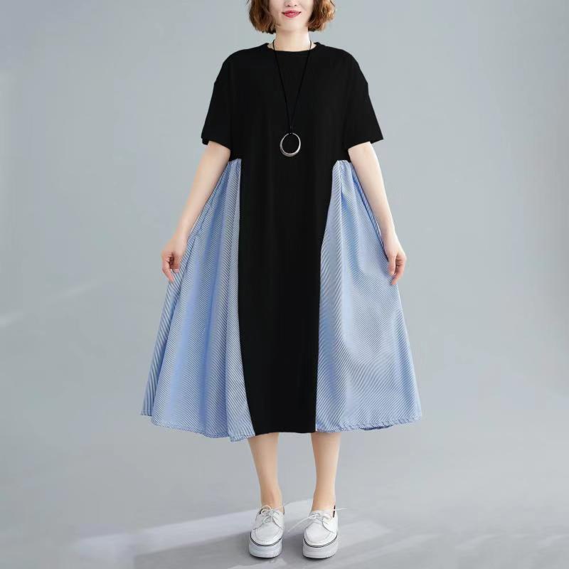 【Maya Collection】短袖夏季寬版拼接氣質連衣裙/洋裝