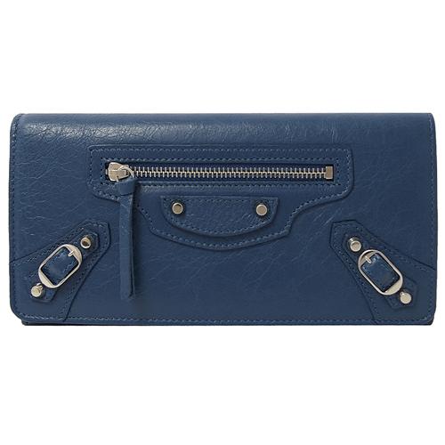 BALENCIAGA 巴黎世家 MONEY 銀扣小羊皮扣式長夾.藍色