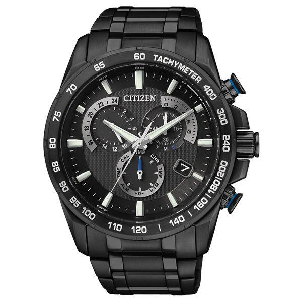 CITIZEN 逆光飛翔電波鈦金屬腕錶-全黑AS8025-57E