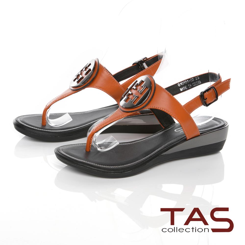 TAS金屬圓飾夾腳羊皮小坡跟涼鞋-夏日橘
