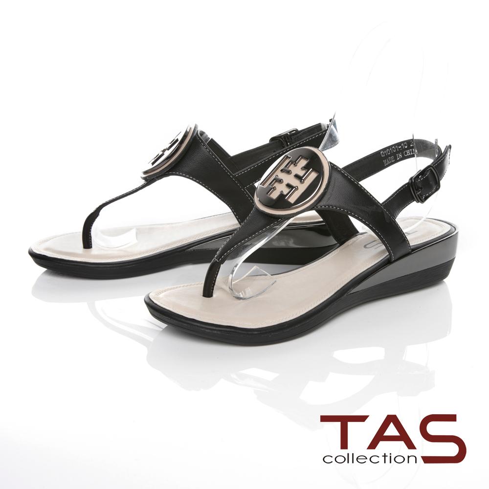 TAS金屬圓飾夾腳羊皮小坡跟涼鞋-百搭黑