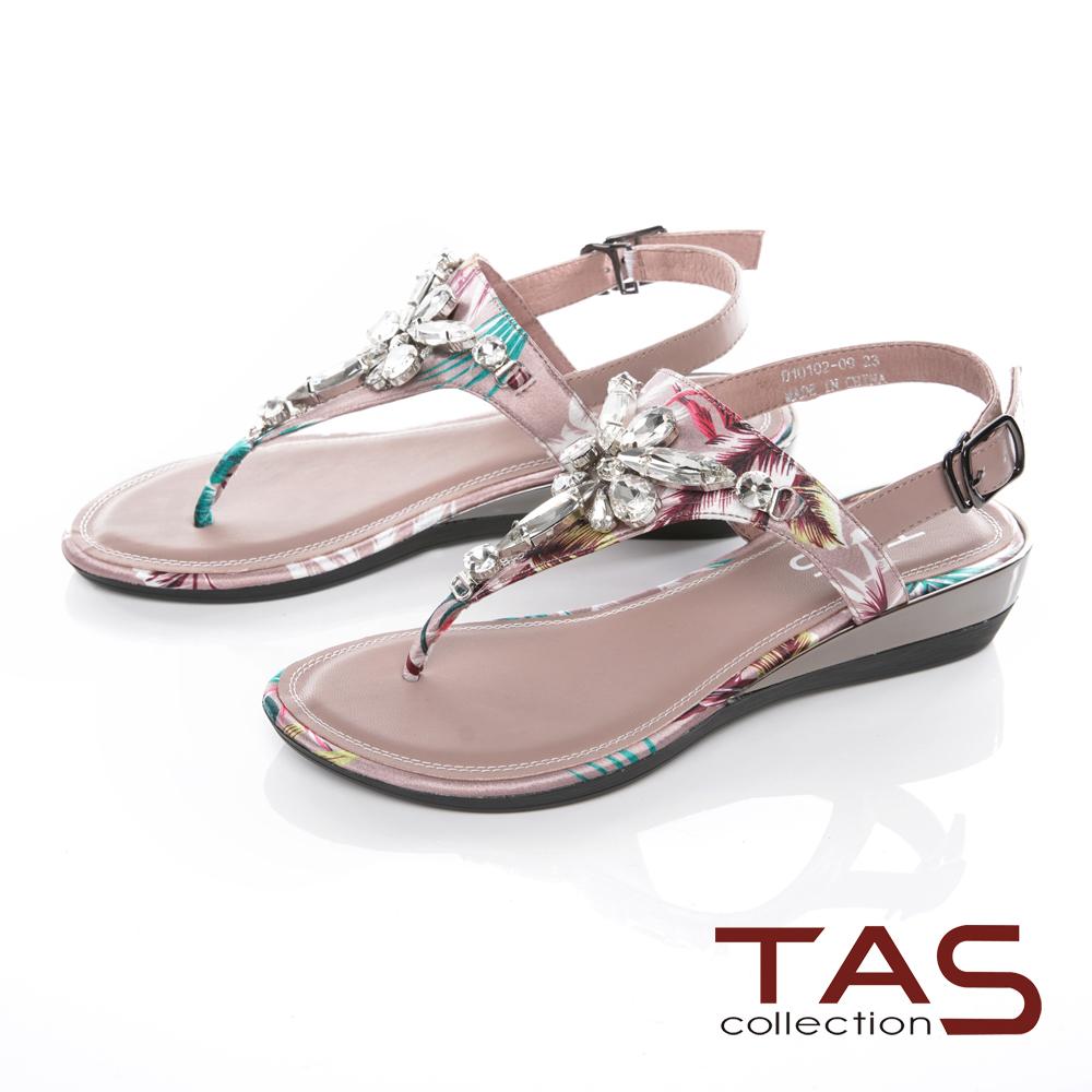 TAS進口花布拼接水鑽夾腳金屬小坡跟涼鞋-淡雅粉