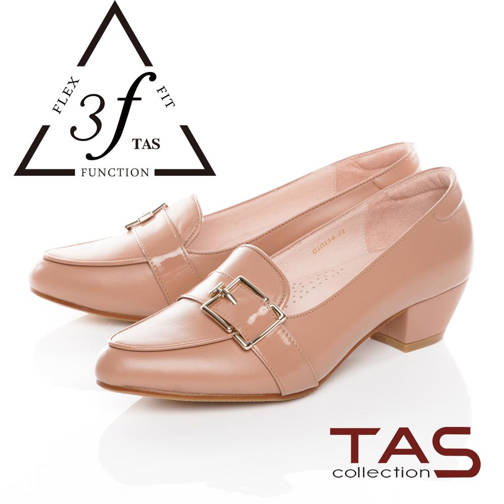 TAS異材質拼接寬版扣帶低跟鞋-氣質卡其