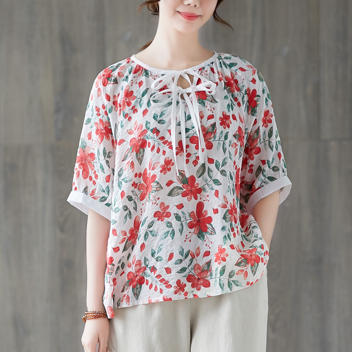 【Maya Collection】寬版夏季薄絲棉料領口雙結印花款-2色