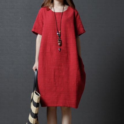 【Maya 名媛】M~3XL短袖百搭純色綿料氣質洋裝/連衣裙-2色