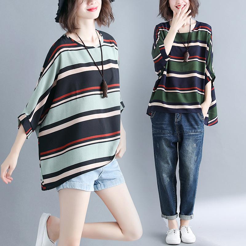 【Maya Collection】寬版雪紡休閒風格罩衫上衣深色彩粗紋-2色