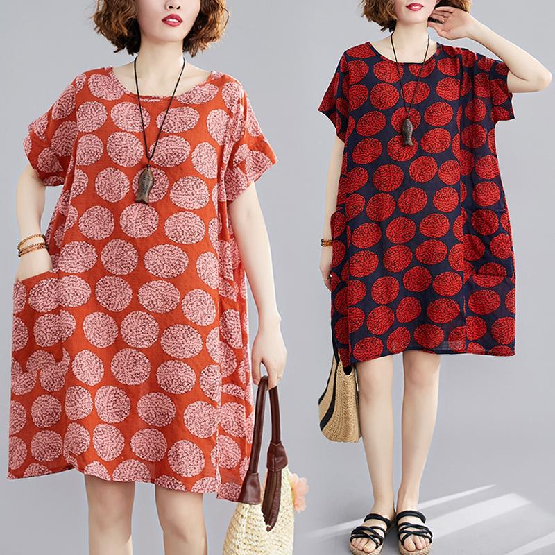 【Maya Collection】寬版大口袋寬袖雪花圓點夏季洋裝-2色