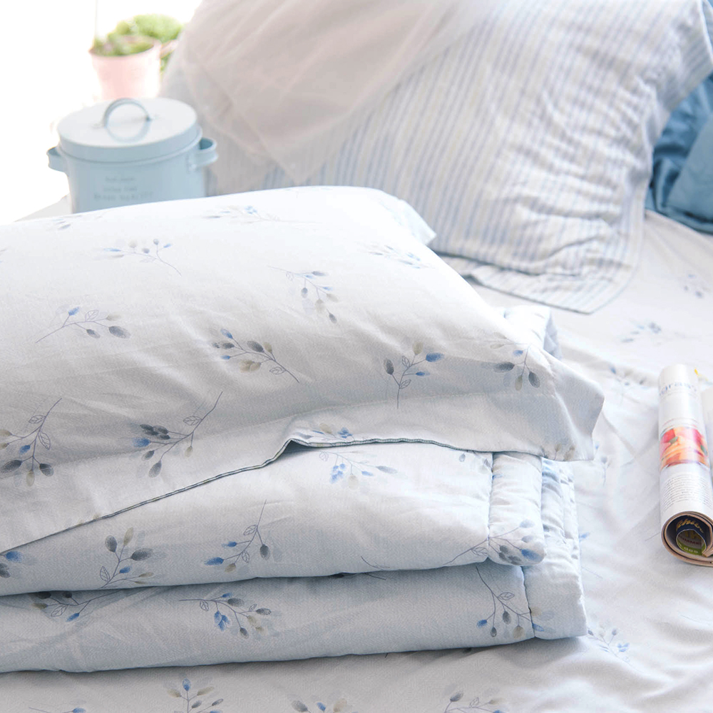 OLIVIA  《 DR1070 蘇菲雅 綠》 標準雙人床包枕套組+夏日涼被四件組 歐式枕套 天絲X 蘭精Viscose 台灣製