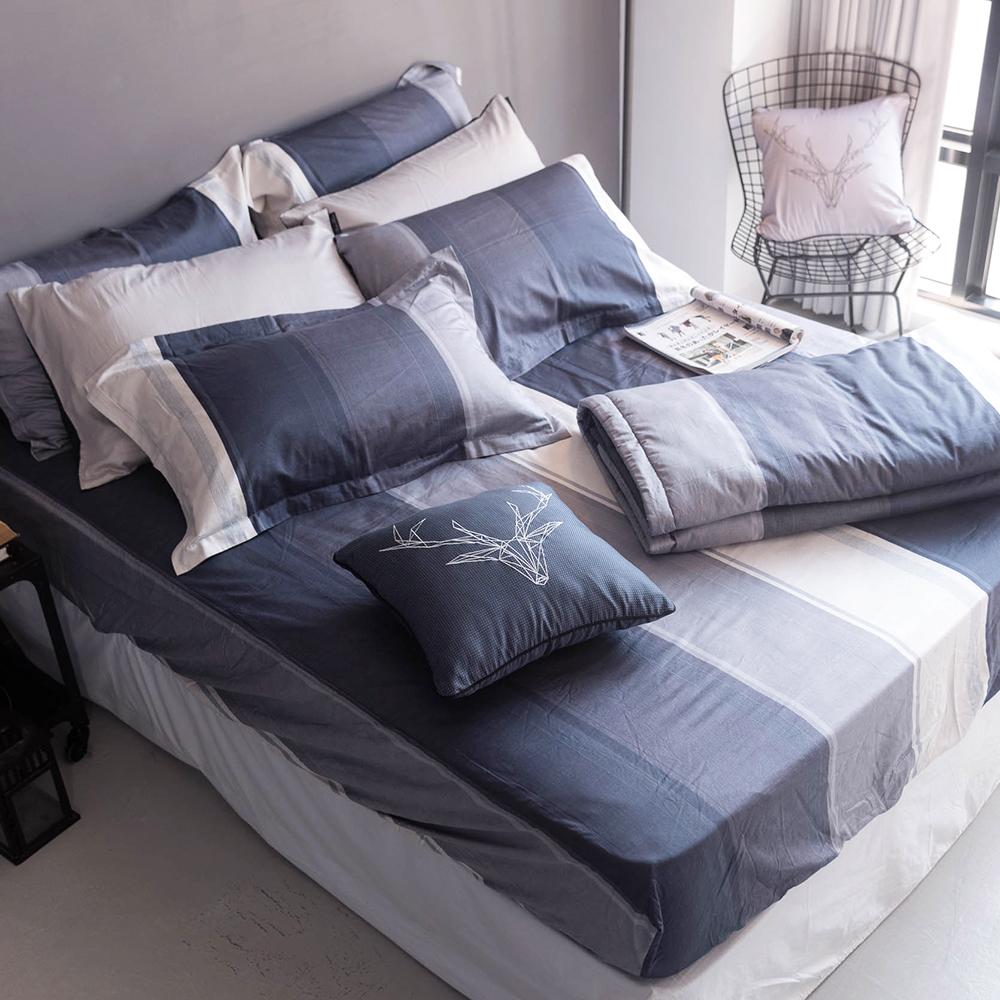 OLIVIA  《 DR5002 Clark》 標準單人床包枕套組+夏日涼被三件組 歐式枕套 MOC莫代爾棉 台灣製