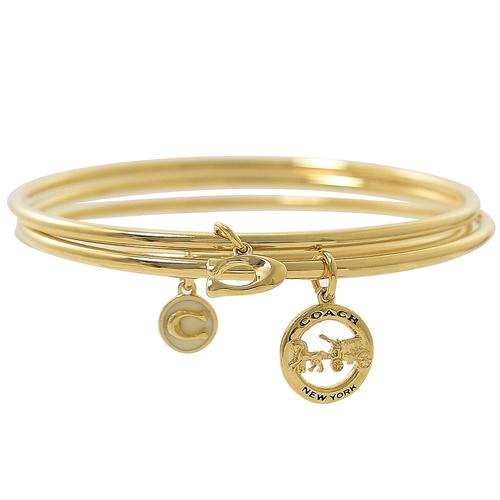 COACH  經典LOGO吊飾鑲鑽三件組手環.金