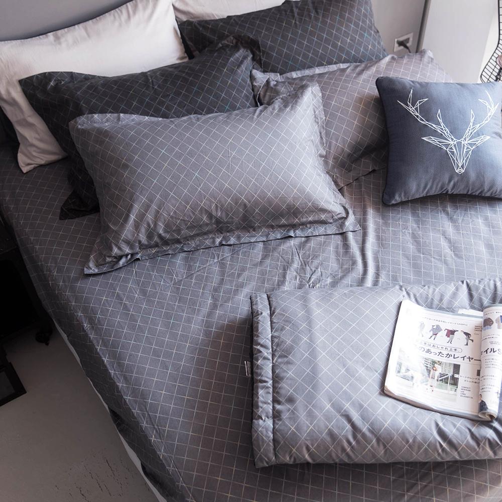 OLIVIA  《 DR5003 里尼》 雙人加大床包枕套組+夏日涼被四件組 歐式枕套 MOC莫代爾棉 台灣製