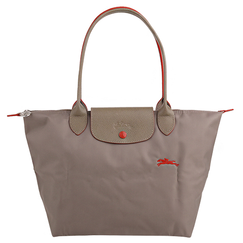 LONGCHAMP- LE PLIAGE 小馬logo長提把手提包(卡其)S