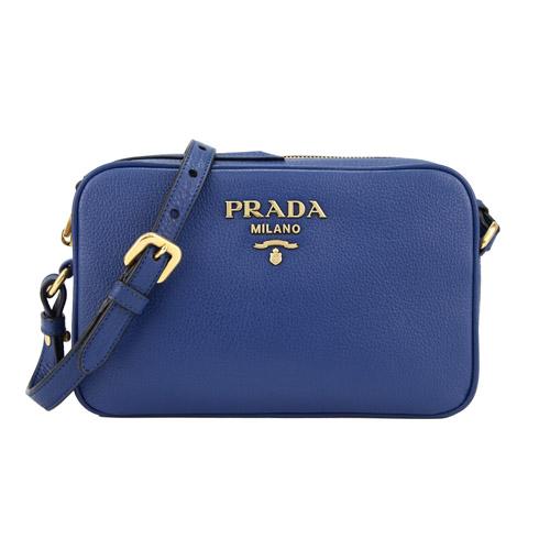 PRADA 金屬字母荔枝牛皮斜背相機包(藍色)