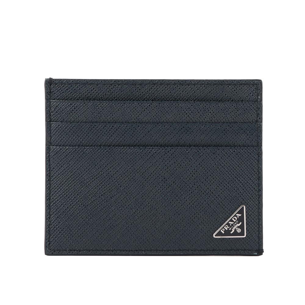 【PRADA】三角牌logo卡片/名片夾(深藍色) 2MC223 QHH F0216