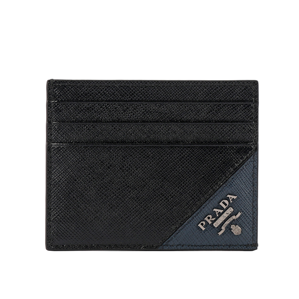 【PRADA】浮雕logo卡片/名片夾(黑/藍色) 2MC223 QME F0G52