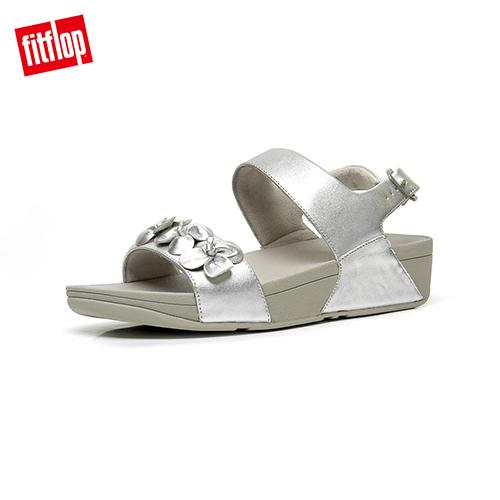 FitFlop  立體花朵裝飾後帶涼鞋-女 銀色  RINGER FLOWER BACK STRAP SANDAL
