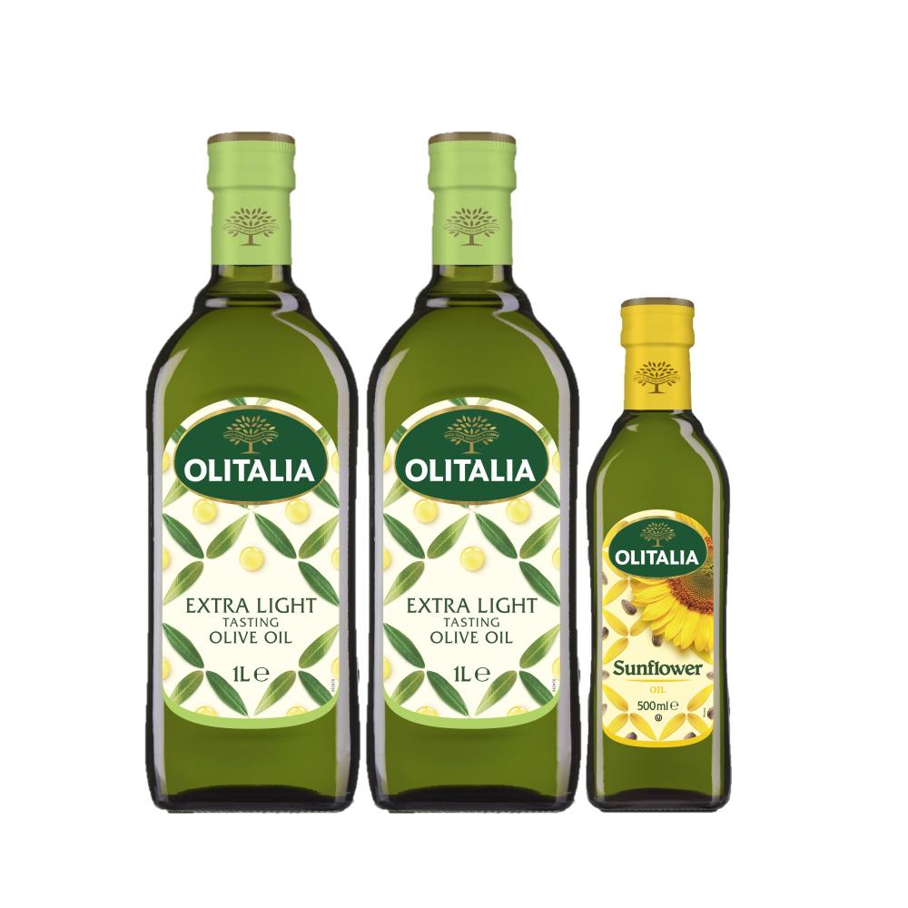 【奧利塔】精橄雙入特惠組 (精緻橄欖油1000ml*2 + 葵花油500ml*1)