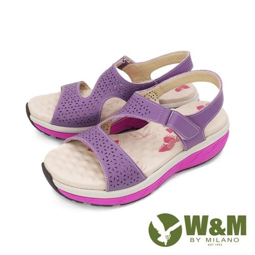 W&M (女)雙帶厚底氣墊涼鞋 女鞋-紫