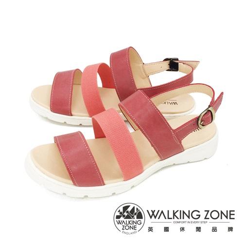 WALKING ZONE (女) 真皮三帶厚底氣墊涼鞋 - 紅(另有藍)