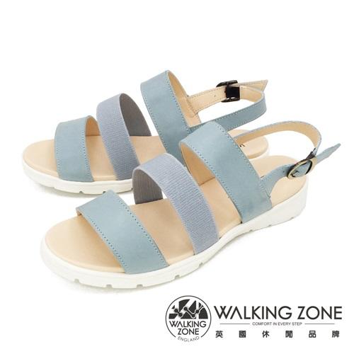 WALKING ZONE (女) 真皮三帶厚底氣墊涼鞋 - 藍(另有紅)