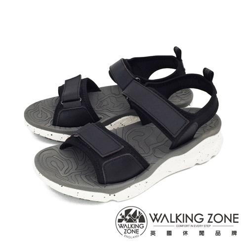 WALKING ZONE (女) 黏扣帶厚底彈性涼鞋 - 黑(另有紅)