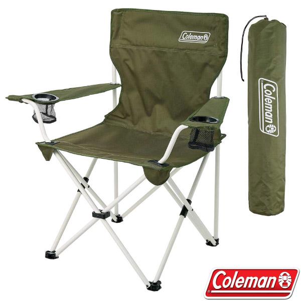【美國 Coleman】渡假休閒椅.雙扶手折疊椅.導演椅/附收納袋.後背置物袋/CM-33560 綠橄欖