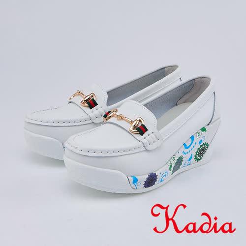 kadia.復古花色拼接皮革楔型包鞋(0053-10白色)