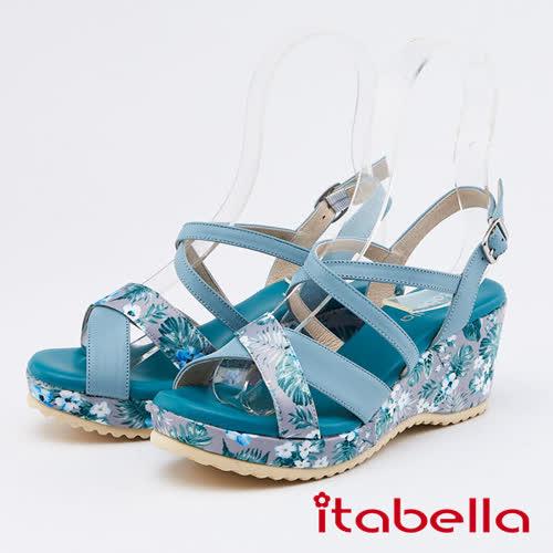 itabella.花紋布拼接牛皮楔型涼鞋(0321-80藍色)