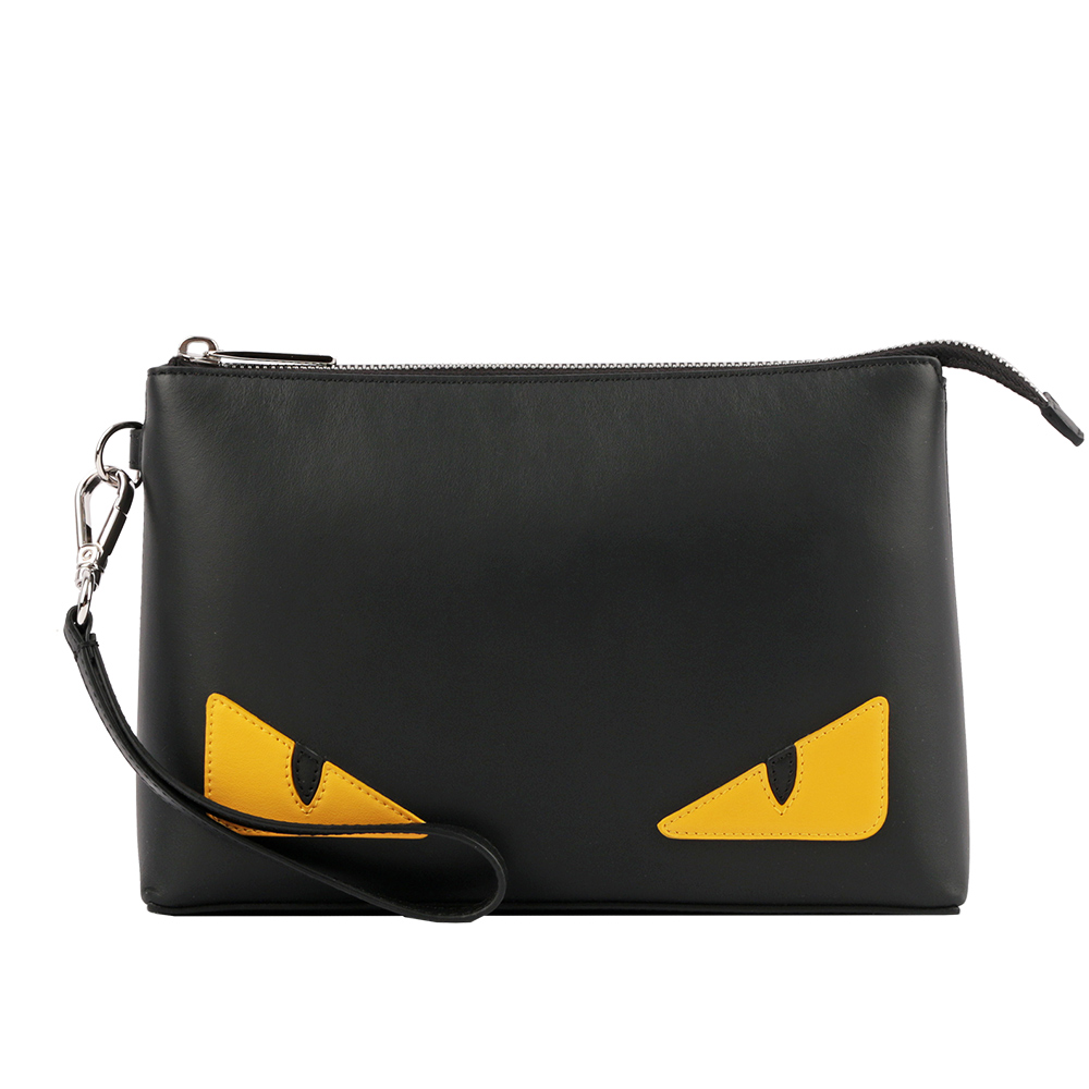 【FENDI】Bag Bugs黃眼睛小牛皮手拿包(附手把)(黑色) 7N0102 O73 F17HQ