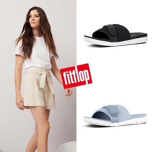 【FitFlop】NEOFLEX SLIDE SANDALS 異材質拼接涼鞋 三色任選