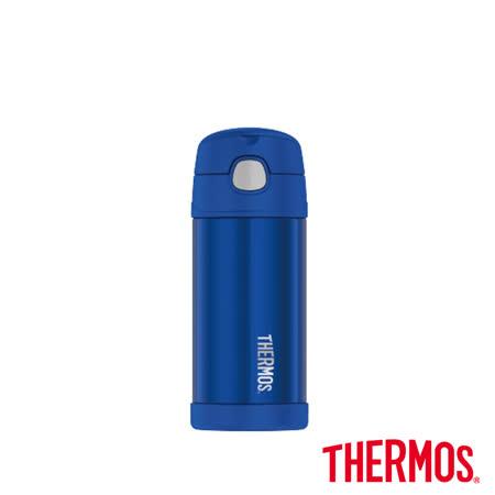 兒童吸管保溫保冷瓶 藍色360ml