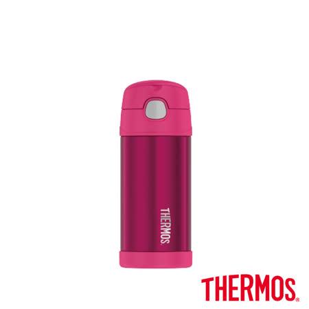 兒童吸管保溫保冷瓶 粉色360ml