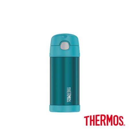 兒童吸管保溫保冷瓶 藍綠色360ml