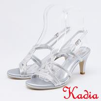 kadia.華麗交叉水鑽跟高跟涼鞋(0114-85銀色)