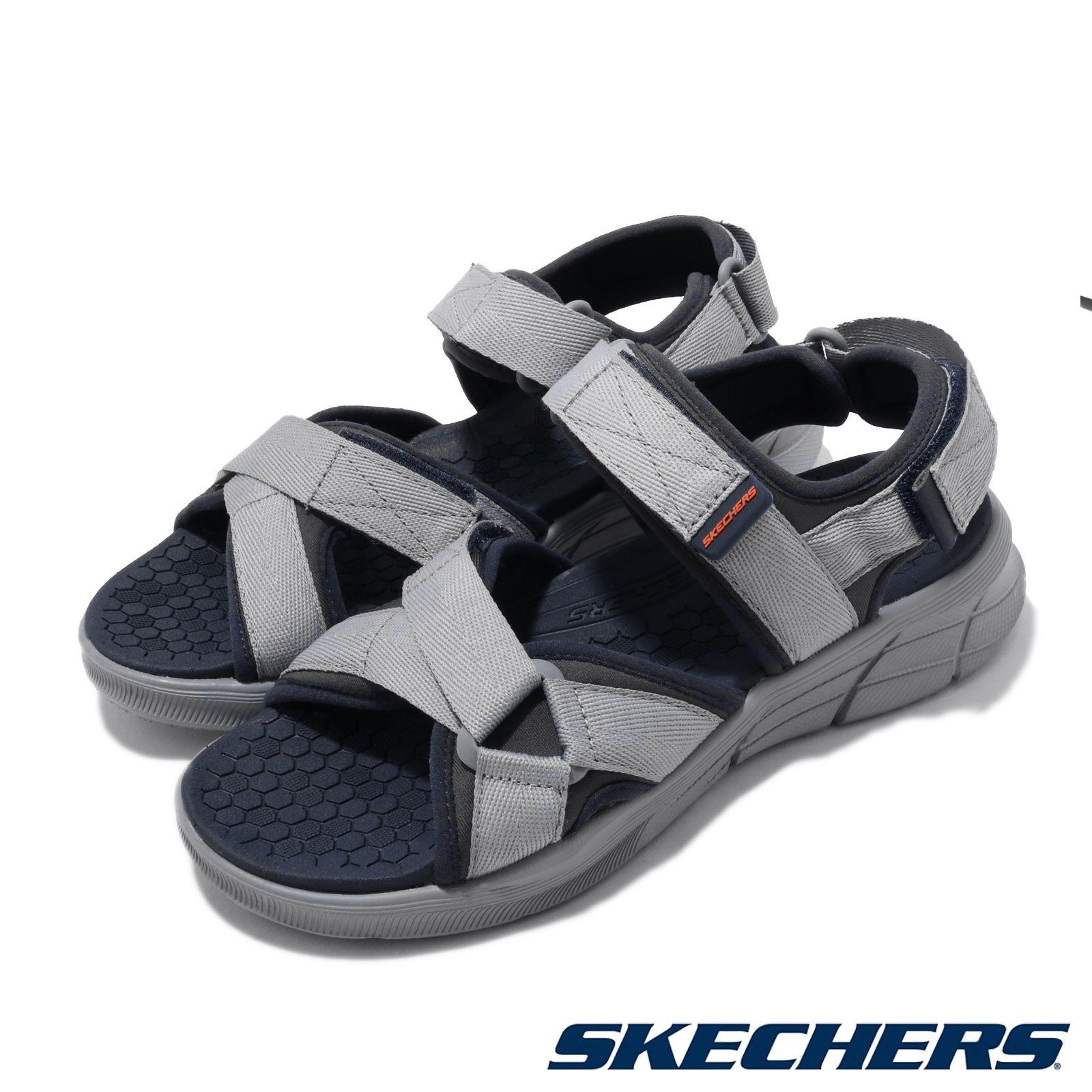 Skechers 涼拖鞋 Equalizer 4 Sandal 男鞋 運動休閒 踏青 魔鬼氈 可調 夏日必 灰 藍 237050NVCC 237050NVCC