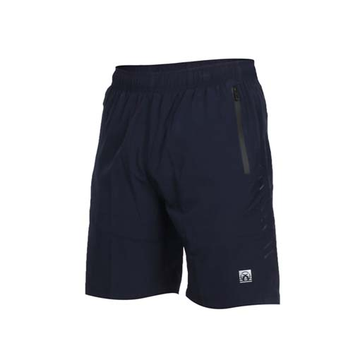 (男) FIRESTAR 彈性平織短褲-慢跑 路跑 運動短褲 五分褲 反光 丈青黑銀