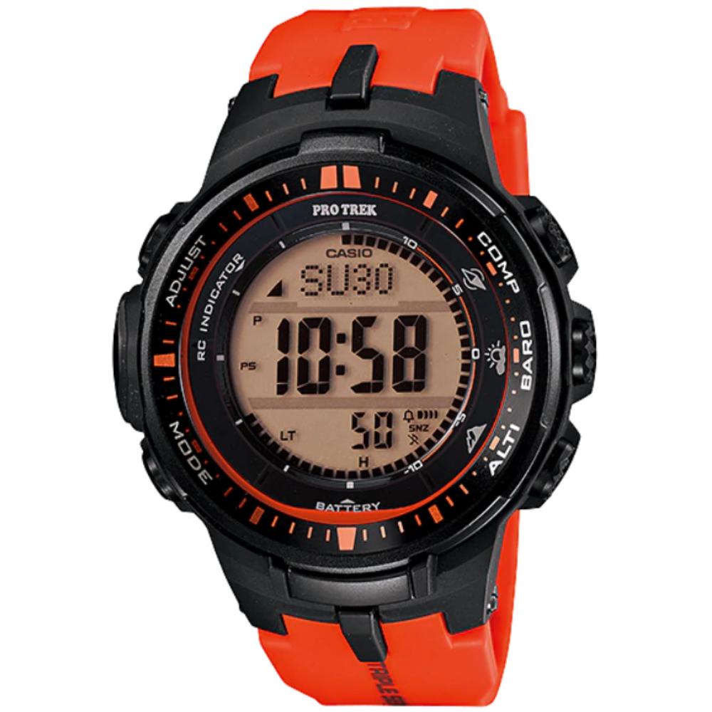 CASIO PRO TREK 太陽能世界6局電波登山錶-紅(PRW-3000-4D)