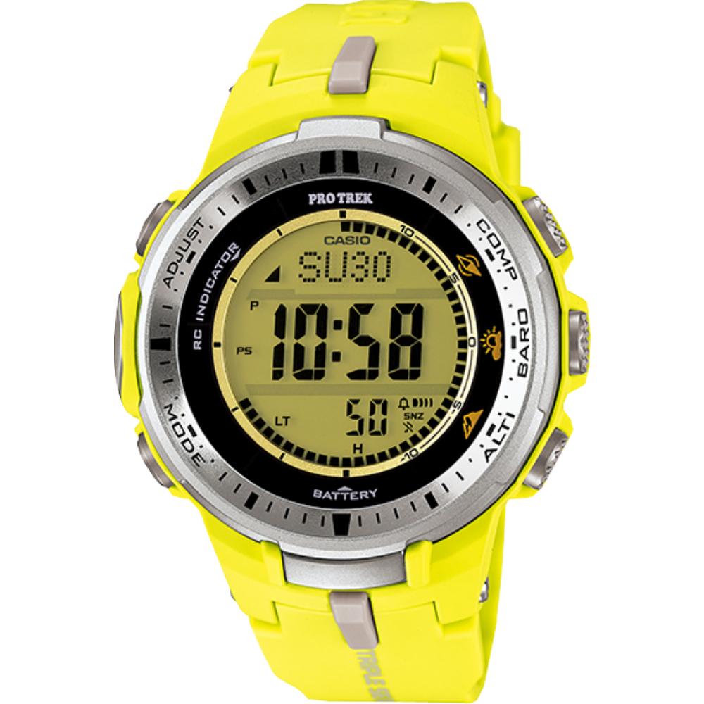 CASIO PRO TREK 太陽能世界6局電波登山錶-黃(PRW-3000-9B)