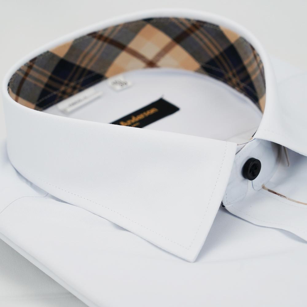 【金安德森】經典格紋繞領門襟鑲格白色窄版長袖襯衫