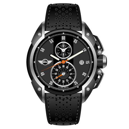 MINI Swiss Watches 灰底黑條兩眼計錶