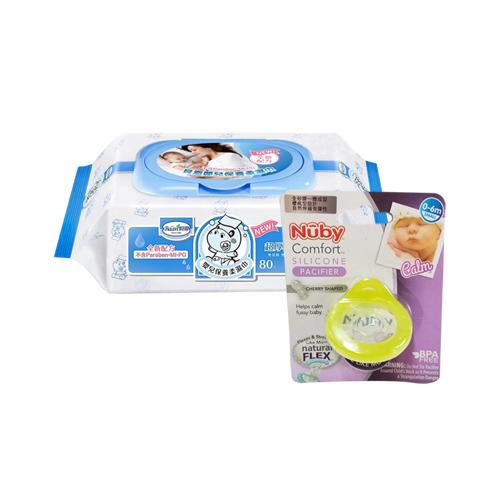 貝恩Baan NEW嬰兒保養柔濕巾80抽24入+Nuby 全矽膠櫻桃型奶嘴0-6m(顏色隨機出貨)