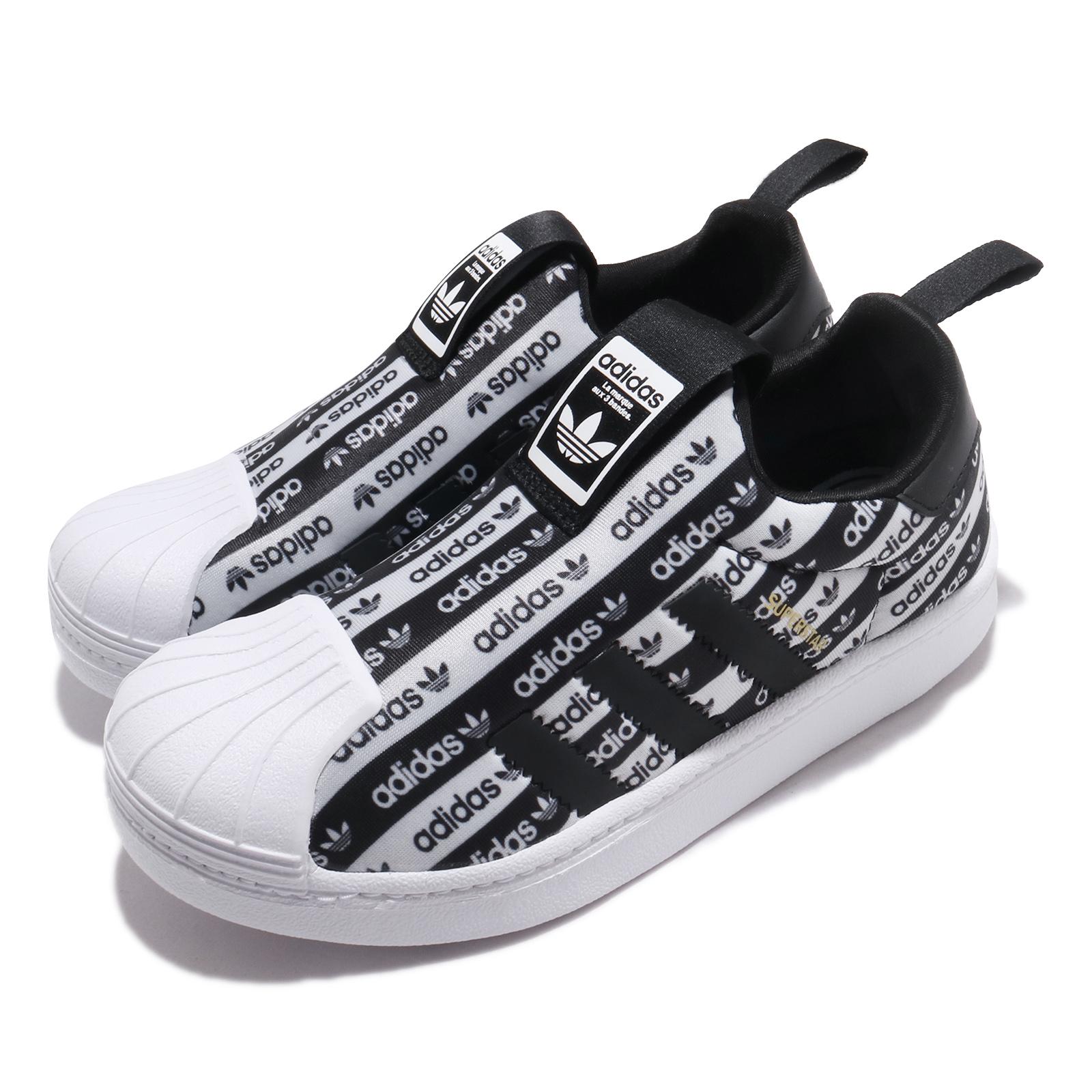 adidas 休閒鞋 Superstar 360 C 襪套式 童鞋 愛迪達 三葉草 貝殼頭 滿版logo 中童 黑 白 EF6644 EF6644