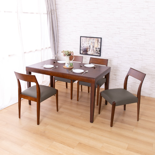 AS-凱撒實木餐桌與巴尼胡桃色皮面實木餐椅(一桌四椅組合)