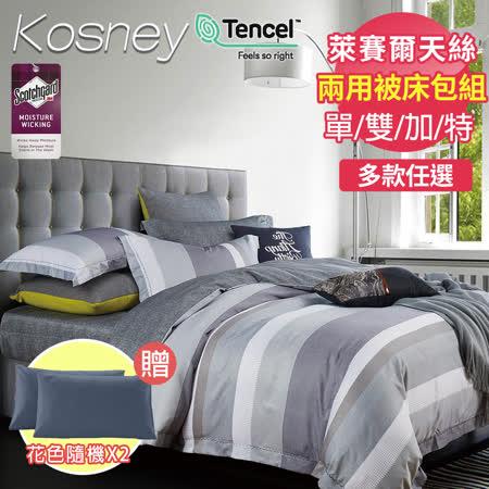 KOSNEY-送2枕 天絲兩用被床包組