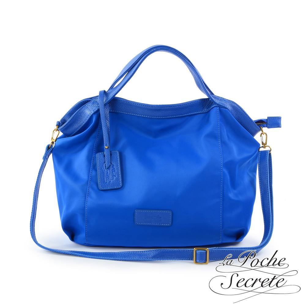 La Poche Secrete側背包 輕盈時尚牛皮X尼龍吊牌側背包-皇家藍