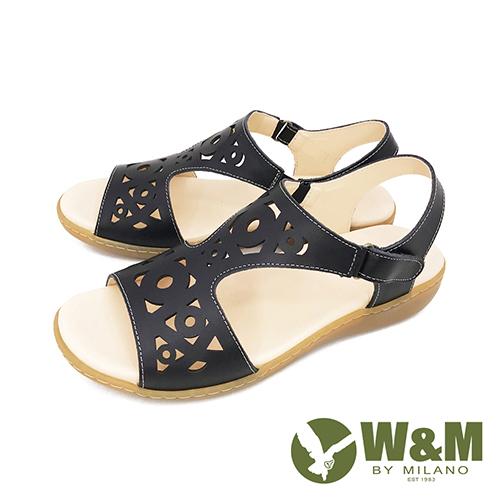 W&M(女) 鏤空黏扣帶 厚底彈力涼鞋 女鞋 -黑 (另有銀)