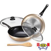 固鋼-陶瓷不沾雙鍋5件組<br/>32cm炒鍋+28cm深煎鍋