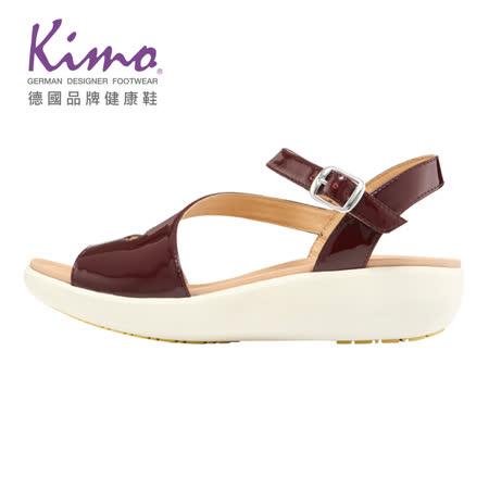 Kimo 德國健康鞋 修飾腳背繫帶漆皮涼鞋