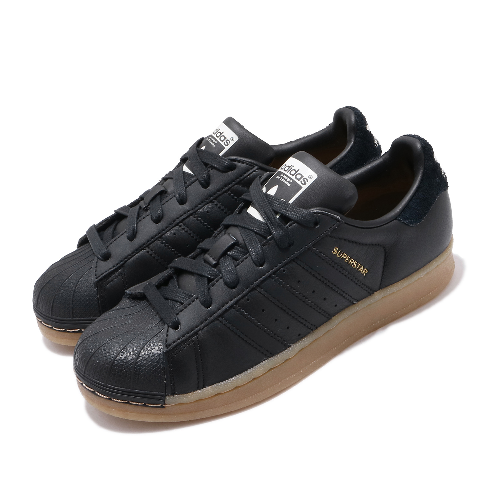 adidas 休閒鞋 Superstar W 復古 低筒 女鞋 海外限定 愛迪達 三葉草 貝殼頭 穿搭 黑 金 B37148 B37148