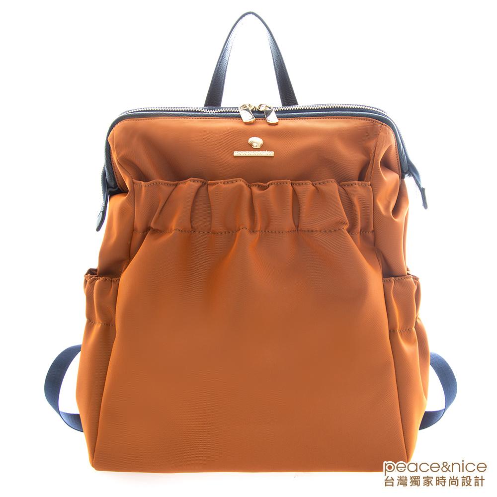 PEACE&NICE 超輕貼背美摺醫生口金後背包(時髦藍橘)